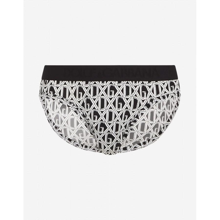 Slip uomo medio in cotone stampa DG rete Dolce & Gabbana